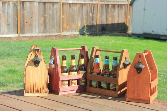 WARNING: EXTREMELY MANLY  This is a Handcrafted beer caddy for men, by men.  These caddies come with a rustic bottle opener on the side so you dont shatter the bottle opening it with your bare man hands.  Just like every man, every one of our caddies is unique. These caddies make great gifts for anybody in your life who enjoys I nice cold brew.  Additionally, the middle divider can be removed to transform your caddy into a WHATEVER caddy. Thats right, you can hold your tools, books…