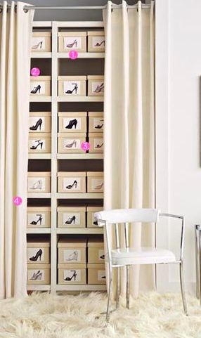 Shoe storage with photos on front of box