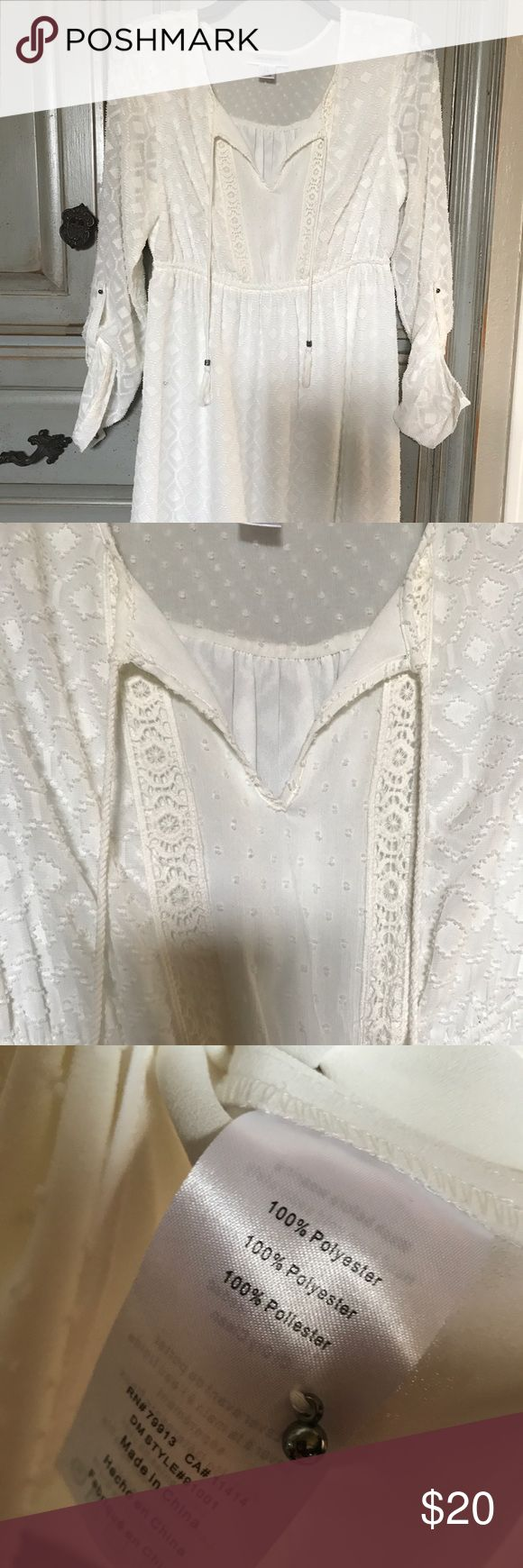 Motherhood Maternity Cream Dress Size Small Only worn once. Has a pretty sheer Aztec pattern. Lined. Super cute on! Wouldn't have to be maternity! Size small. Motherhood Maternity Dresses