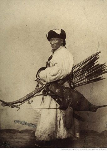 Mongolian warrior in full gear. Anonymous photographer. Circa 1900.