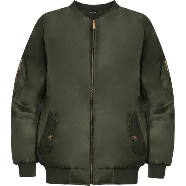 Sofia Long Sleeve Zip Bomber Jacket found on Polyvore featuring outerwear, jackets, green, plus size, long sleeve jacket, flight jacket, blouson jacket, zip pocket jacket and green jacket