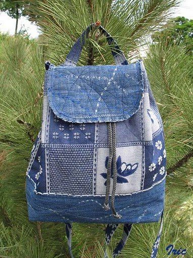 Сумка-чемодан и рюкзак из старых джинсов | 101 фотография