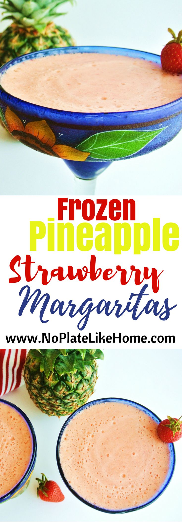 Use up your leftover fruit to make this easy Frozen Pineapple Strawberry Margarita this summer! It is made with fresh pineapple and strawberries, OJ, white Tequila and Triple Sec. It is a refreshing cocktail to enjoy on a hot summer day and for deck parties! Pitcher recipe included. Pin it for later.
