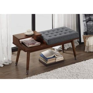 Mid-Century Style Tufted Telephone Bench Granite | Overstock.com Shopping - The Best Deals on Benches