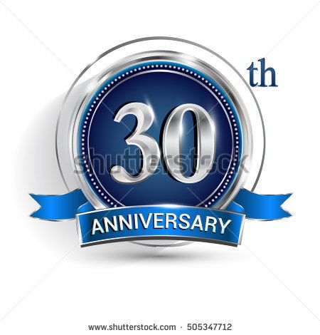 Celebrating 30th anniversary logo, with silver ring and blue ribbon isolated on white background.