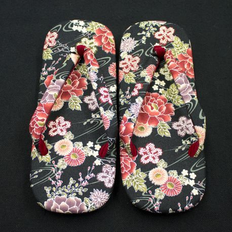 Japanese Setta Sandals (Botan Pattern - Black) : Aoi Budogu