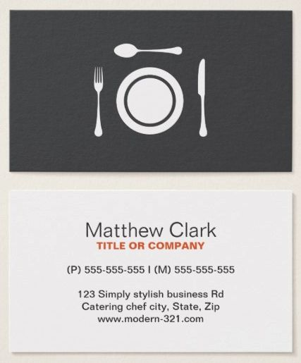 7 best chef and catering business cards images on pinterest restaurant chef or catering modern gray white business card reheart Image collections