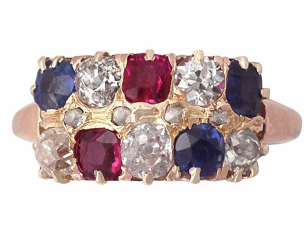 'Ruby & Sapphire Ring with Diamonds, in 18ct Rose Gold' http://www.acsilver.co.uk/shop/pc/0-52-ct-Diamond-and-0-89-ct-Multi-Gemstone-18-ct-Rose-Gold-Dress-Ring-Antique-Circa-1900-35p8166.htm