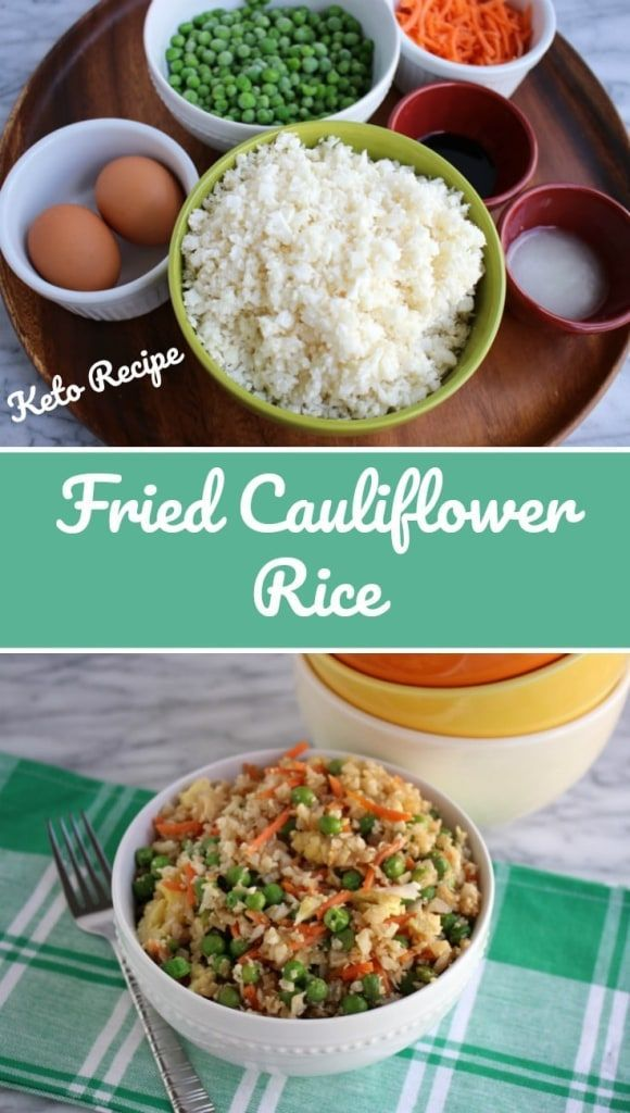 A delicious, healthy, low carb fried rice made from minced cauliflower and 5 other easy ingredients. #lowcarb #ketodiet #keto #atkinsdiet #healthyfriedrice