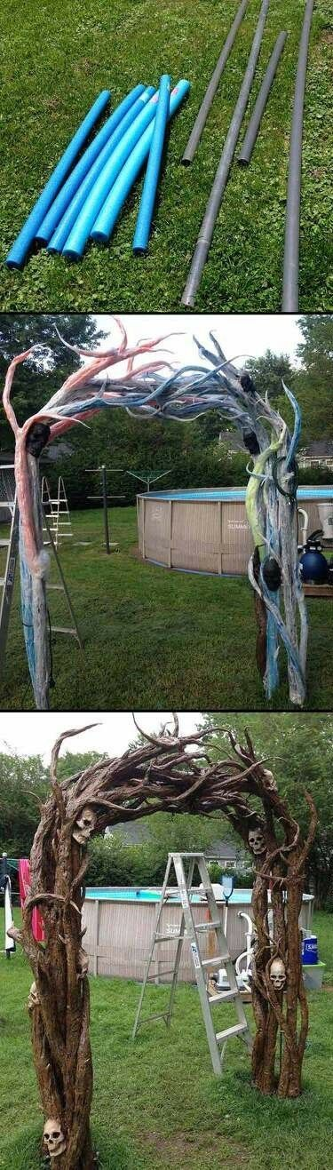 Using pool noodles to create a haunted tree (no link)