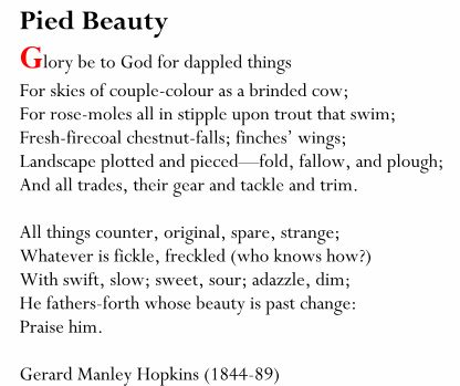"""""""Pied Beauty"""" by Gerard Manly Hopkins"""