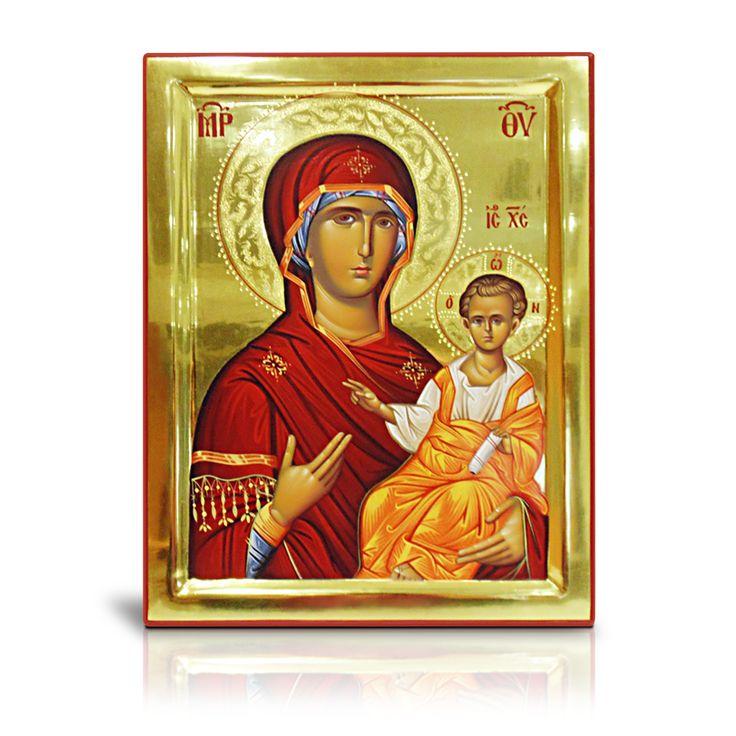 Στην αγιογραφία αυτή η Παναγία παριστάνεται σε προτομή, στρέφοντας το σώμα της προς τον Χριστό που τον κρατεί με το αριστερό της χέρι, ενώ στρέφει το βλέμμα της πέρα από τον προσκυνητή. Μοναδικό έργο βυζαντινής τέχνης από τον καθηγητή κ. Σιδηρόπουλο. - In this icon Virgin Mary  is presented turning her body to Christ, whom she is holding with her left hand while turning her gaze beyond the pilgrim. It is a unique work of Byzantine art made by the painter and Professor Sidiropoulos.