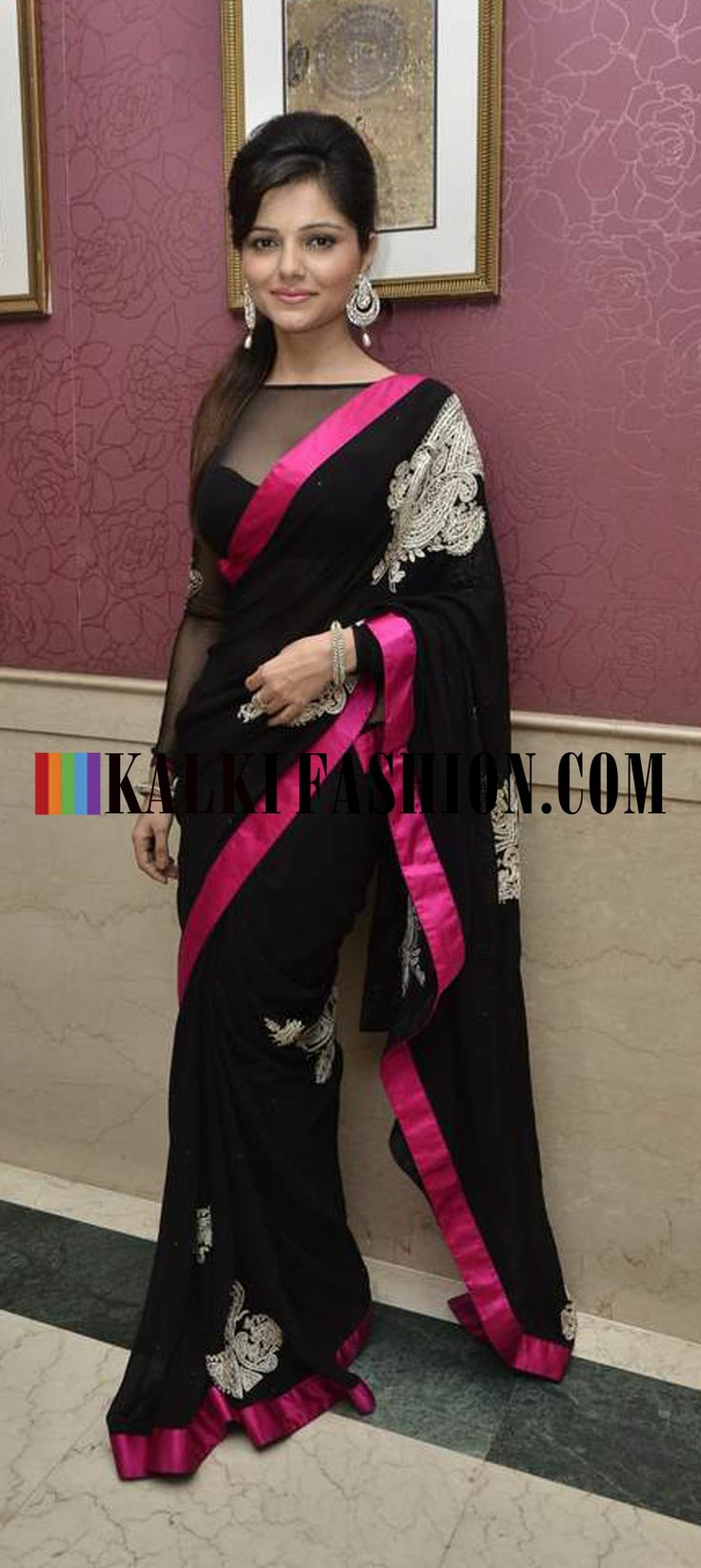 http://www.kalkifashion.com/ Rubina Dilaik in black stunning saree at Ravi Dubey and Sargun Mehta's reception bash.