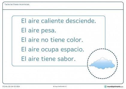 Ficha de características del aire para primaria