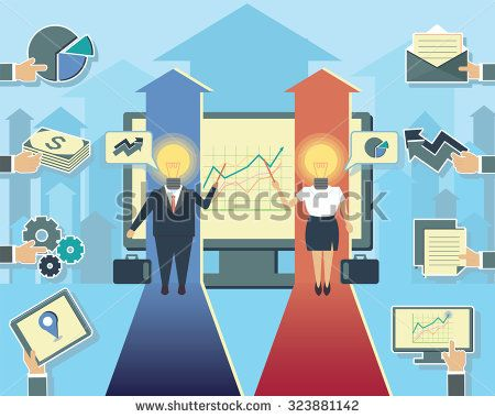 business man and business woman manager employer employee characters increase chart design envelope gears money pie chart stock graph light bulb head - stock vector