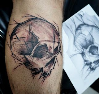 POWER DRAGON TATTOO: Scratched skull