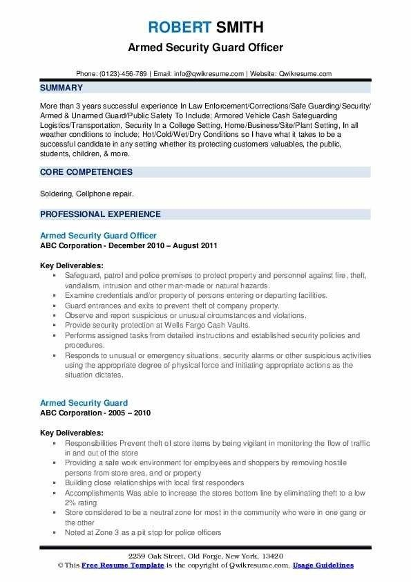 Armed Security Guard Resume Samples Qwikresume Resume Objective Resume Examples Security Guard Jobs