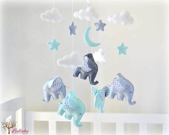 Elephant baby mobile  crib mobile  mint grey by LullabyMobiles