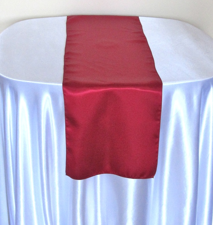Wonderful DARK RED, SATIN TABLE RUNNER AVAILABLE TO HIRE £2.50 EACH