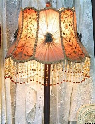 Victorian-Smoky-Mauve-Lamp-Shade-Hand-Dyed-Embroidered-Panels-10-034-X17-034-GWTW