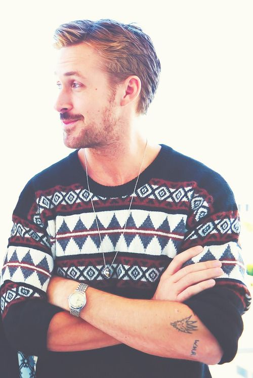 Ryan Gosling, damn he made a Christmas sweater look good.