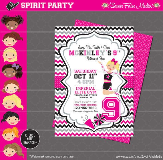 Best 25 Cheerleading birthday parties ideas – Cheerleading Birthday Party Invitations