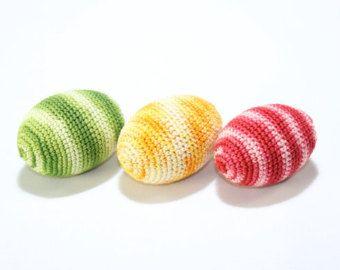 Croșetat jucărie / Croșetat Ouă (set de 3) colorate / Pagina de decorare / Verde Galben Roșu / jucărie naturale pentru copii