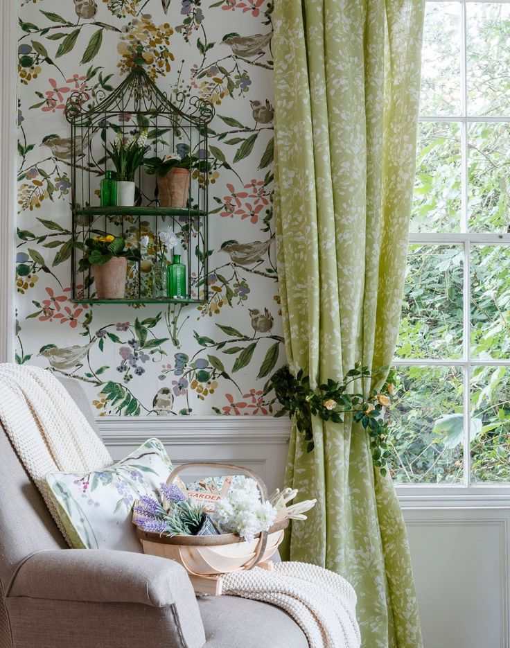 Green Country Living Room With Floral Wallpaper