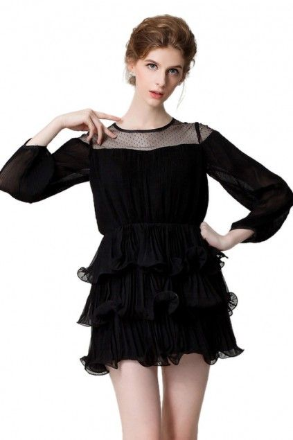 Lucluc black triple layered dress