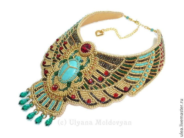 Egypt goddies - bead embroidery collar. Egypt style necklace. Beadwork by Ulyana Moldovyan. Beaded jewelry.