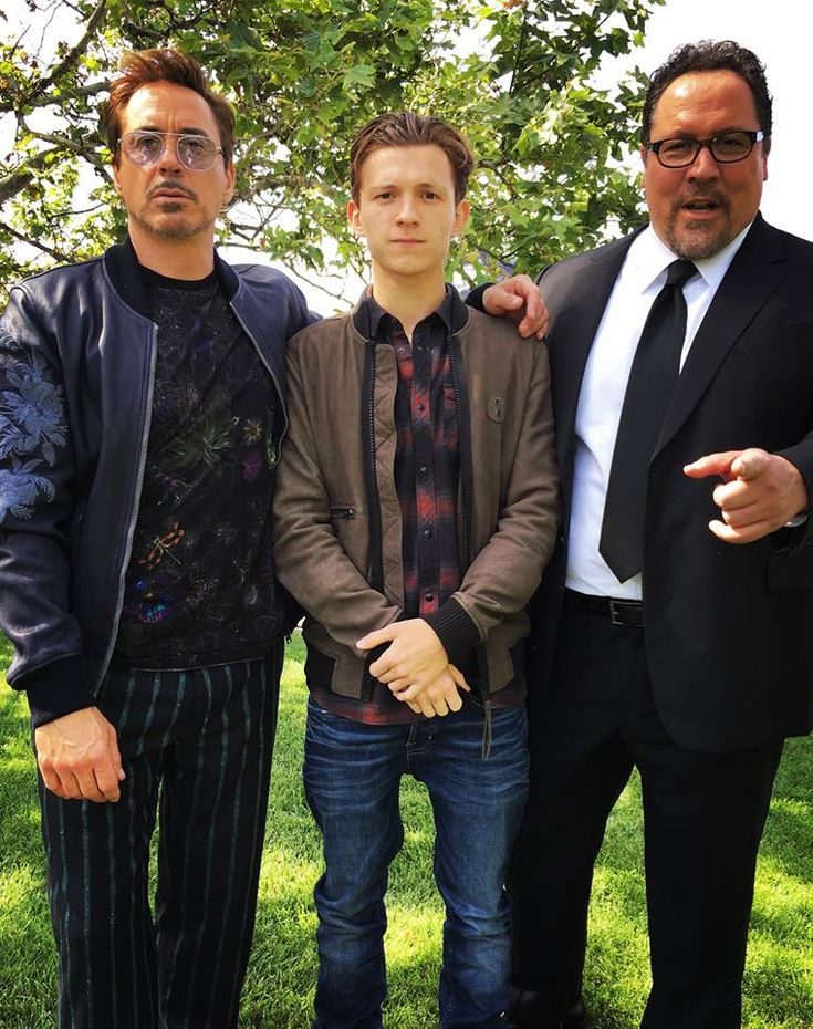 Robert Downey Jr., Tom Holland and Jon Favreau (photo cred: Jimmy Rich, Glam: Davy Newkirk, Style: Jeanne Yang)