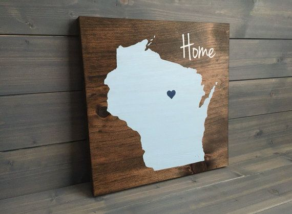 Pick Colors, Wisconsin Wood Sign, Wisconsin State Sign, Stained and Hand Painted, Personalize, Wisconsin decor, Badgers decor