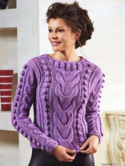 Укороченный свитер с шишечками - Портал рукоделия и моды