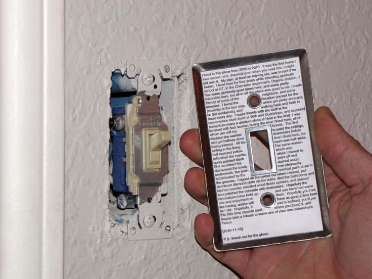 Light Switch Time Capsule — make one of these to put in new kitchen