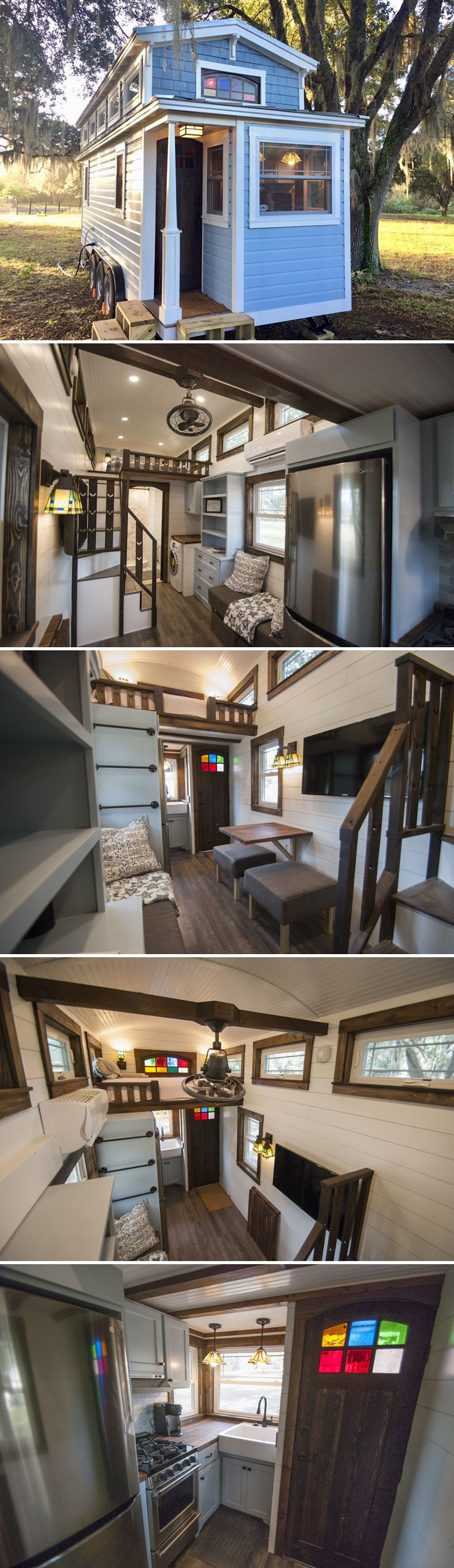 The craftsman-style tiny house features a custom built stained glass front door, barrel ceiling, custom cabinetry throughout, and a reclaimed cedar tub.