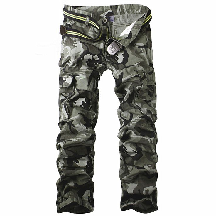 New Men Army Camouflage Trousers Baggy Cargo Military Pants Out Camo Joggers Pants Tactical Multi-Pocket Camouflage Trousers