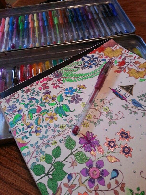 The Secret Garden Adult Coloring Book Gel Pens