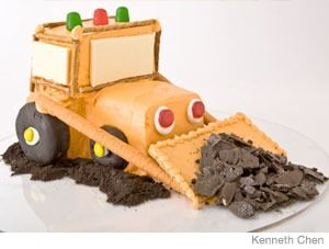Bulldozer Birthday Cake Design    How to make a bulldozer birthday cake with chocolate-covered doughnuts. Easy, step-by-step recipe, diagrams and pictures.  31 Incredible Birthday Cake Designs, Step-by-step recipes, designs and color pics of the easiest (and cutest) birthday cakes for boys and girls.