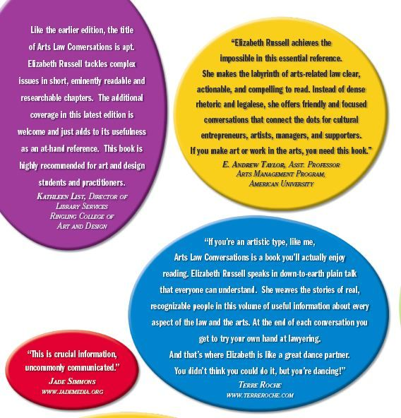 Here's the back cover with some thoughts from artists and academics alike