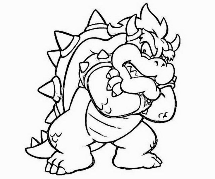 Bowser Coloring Pages | Mario coloring pages, Super ...
