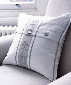 Make a pretty cushion - from a tea towel