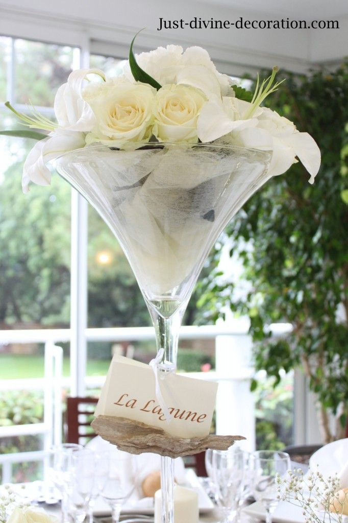 mariage blanc lin coupe martini fleurs blanches | deco ...