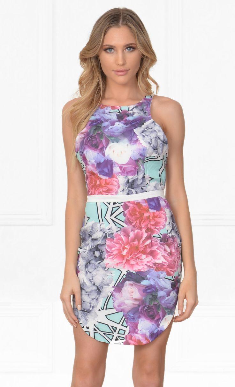Indie XO Blank Canvas Purple Pink Blue White Black Floral Geometric Watercolor Sleeveless Scoop Neck X Back Halter Bodycon Mini Dress