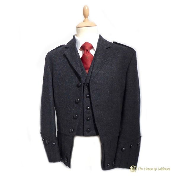Scottish charcoal tweed Labhran doublet and waistcoat for the kilt highland wear. Made in Scotland
