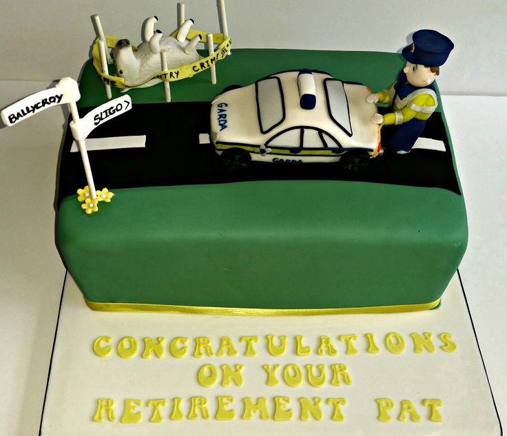 Gárda Retirement Cake with handmade fondant Gárda character and car by Cáca Willis, Sligo