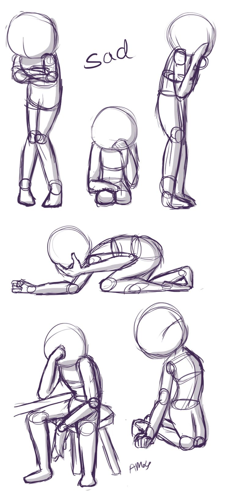 Sad Positions: This is a quick little reference sheet of sad poses. If you'd like to see more poses along with tips, visit the video I attached to this pin! (Drawn by Starla's Art Studio YT)
