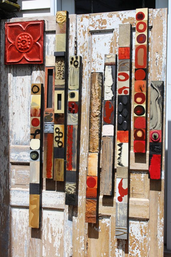 10 Pi. Set of Roaring Reds Art Deco Fine Art Sticks Best Selling Totems Glazed Tile Wood Wall Collages MidCentury Abstract Tribal Metal Art