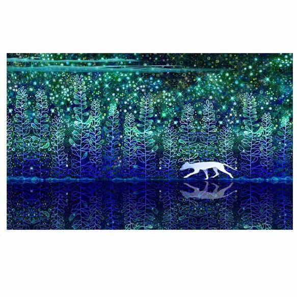 一人行く、白い野良犬。湖。青い森。星空。オリジナルのデジタル画です。2Lサイズ(127×178mm)厚手の最高級写真用紙に印刷致します。四方余白が...|ハンドメイド、手作り、手仕事品の通販・販売・購入ならCreema。