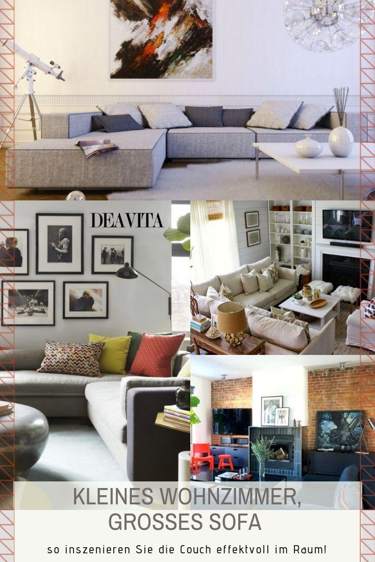 Kleines Wohnzimmer Aber Grosses Sofa Geht Das Wirklich Ja Selbst Die Grosszugige Wohnlandschaft Lasst Sich Effektvoll In Big Sofas Small Living Room Decor
