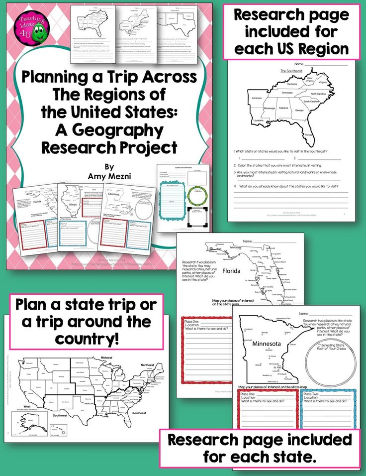 US Geography - State or Regions Research Project - A research page included for each of the regions as well as each state.  Use these pages in a variety of ways.  Other resources are included, such as a project letter, rubric, bibliography page, and a blank US map for plotting the trip around the country!  $